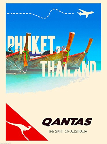 A SLICE IN TIME Thailand Phuket Thai Qantas Asia Asian Vintage Travel Home Collectible Wall Decor Advertisement Art Poster Print. 10 x 13.5 inches