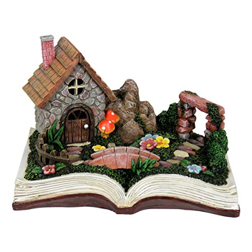 """Exhart Solar Fairy House on a Book Garden Statue - Quality Resin Statue of a Mini Cottage on an Open Book w/LED Solar Accent Lights - Solar-Powered Fairy Tale House Garden Decor, 10"""" L x 7"""" W"""