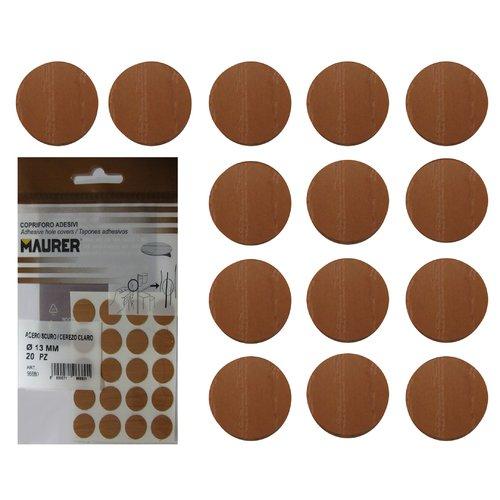Maurer 5440122 Tapatornillos Adhesivos Cerezo Claro (Blister 20 unidades)