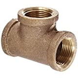 "Anderson Metals 38101 Red Brass Pipe Fitting, Tee, 3/4"" x 3/4"" x 3/4"" Female Pipe"