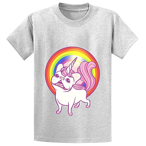 Pink Frenchie Wig (Chas The Unicorn Frenchie Boys' Crew Neck Personalized Tee Grey)