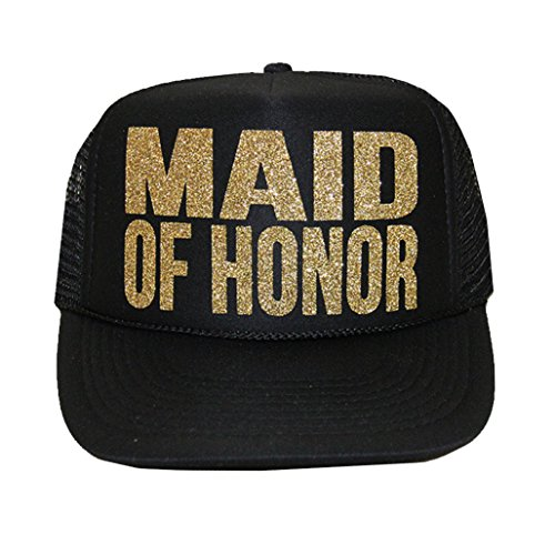 [MAID OF HONOR Glitter Trucker Hat] (Maid Hat)