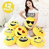 Liberty Imports 12 Pack - Large Emoji Plush Pillows, 13 Inches (32 cm) Jumbo Stuffed Cushion Pillows Bulk Bundle Set (1 Dozen)