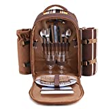Search : apollo walker Picnic Backpack Bag for 2 Person with Cooler Compartment, Detachable Bottle/Wine Holder, Fleece Blanket, Plates and Cutlery(2 Person, Brown)