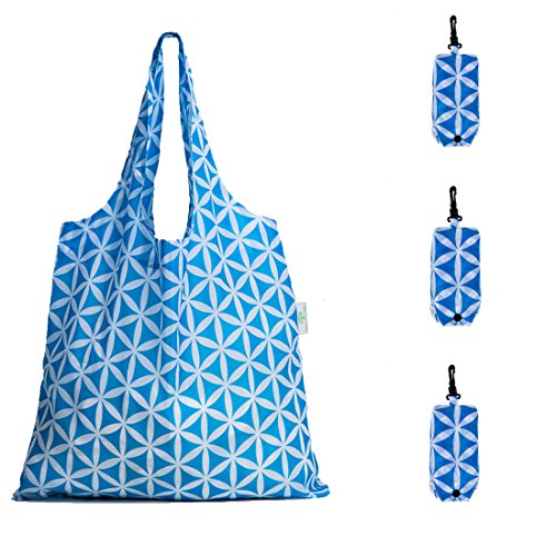 HOLYLUCK Set of 3 Reusable Grocery Bags,Heavy Duty Foldable Shopping Tote Bag-Sky Blue (Shopping Bags That Fold Into A Pouch)