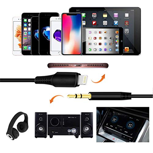 Aux Cord for iPhone 11, Vcddom 3.5 mm Headphone Jack Adapter Male Aux Stereo Audio Cable for iPhone X/7/8/Xs/Xr/XS Max/iPad 3.3ft for Car, Speaker, Home Stereo and Headphone (Black)