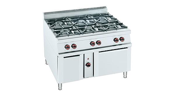 Macfrin H6E Cocina a Gas de 6 Fuegos y Horno 57 Kw: Amazon.es ...