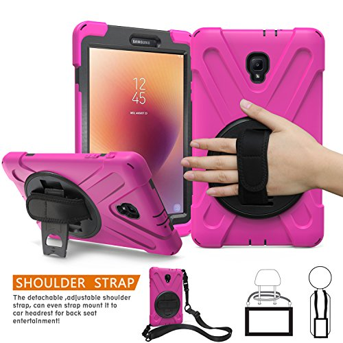 BRAECNstock Samsung Galaxy Tab A 8.0 2017 Case Full-Body Rugged Protective Case with 360 Degree Rotatable Hand Strap/Built-in Kickstand for Samsung Galaxy Tab a 2017 8.0
