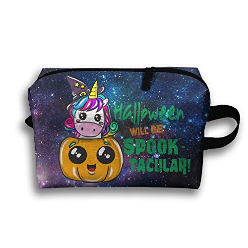 Halloween Will Be Spook Tacular Travel Makeup Bag Cosmetic Case Women Zipper