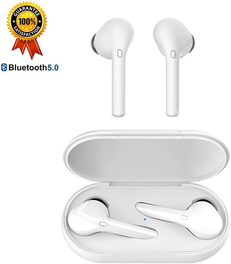 True Wireless Earbuds Bluetooth Headphones in Ear Sports Running for iPhone Android Huawei with Charging Case, 15-24H Playtime, Bluetooth 5.0, Noise-Canceling, Fast Auto-Pairing