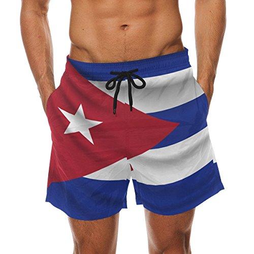 CoolPrintAll Cuba Flag Men's Swim Trunks Beach Shorts with Pockets