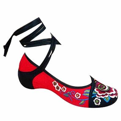Hibote Zapatos Para Mujer de La Lona del Bordado de Las Se?oras Mary Jane Ligera Verano de La Correa Negro 250 CSYAdt