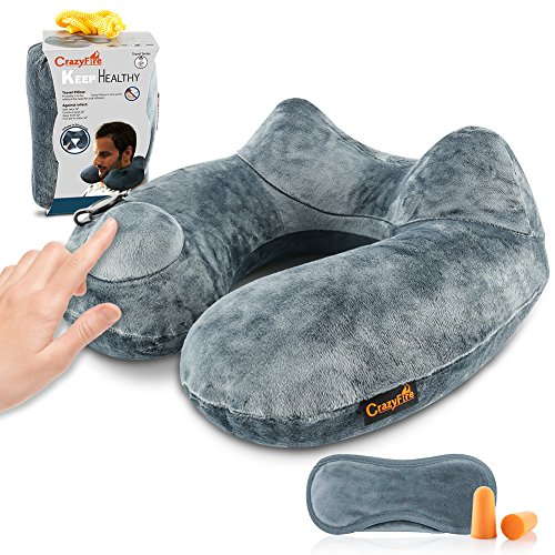 Price comparison product image CrazyFire Inflatable Travel Pillow, U Shaped Inflatable Neck Cervical Head Pillow,Soft Compact Lightweight Travel Air Pillows+Soft Carrying Bag+Eye Mask+Ear Plug for Sleeping on Airplane,Car,Train