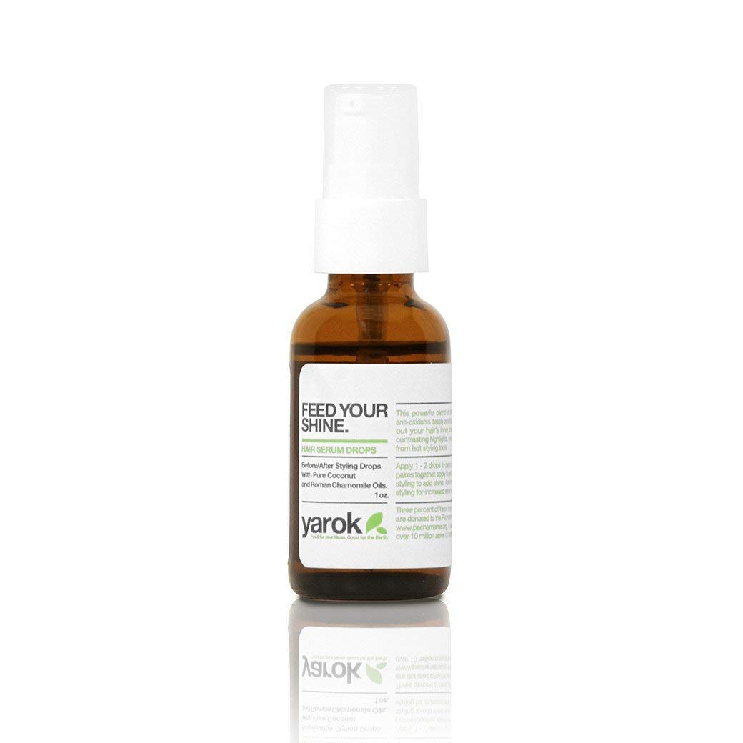 Yarok Feed Your Shine Organic Hair Serum Drops, 1oz, Made from Clary Sage, Coconut Oil, and Roman Chamomile, 100% Vegan, Free from Gluten, Sulfate, Alcohol & Paraben, Cruelty-Free