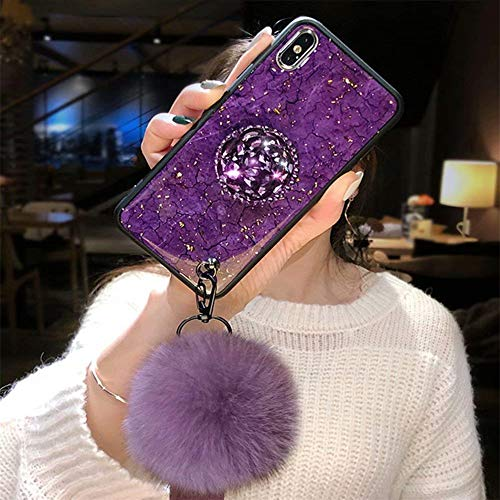 Case for Galaxy S8 Plus,Fashion INS Rhinestone Diamond Holder Marble Stripe with Rabbit Fur Hairball Retro TPU Case for Samsung Galaxy S8 Plus(A ()