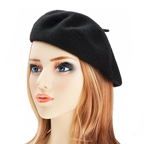 Wool Beret Hat Classic Solid Color French Beret for Women by ZLYC (Black) (Lightweight Classic Cap)