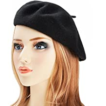 Wool Beret Hat Classic Solid Color French Beret for Women