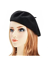 ZLYC Wool Beret Hat Classic Solid Color French Beret for Women by fab3bfb9d0cb