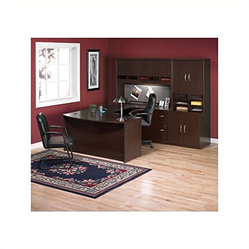 Bush Furniture Corsa Series U-Shape Wood Office Set with Hutch in Mocha Cherry by Bbf