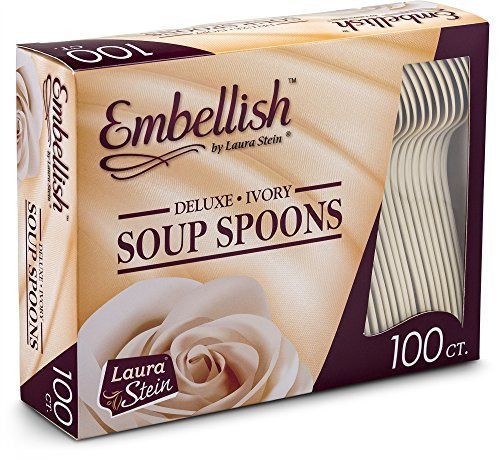 - Embellish Cutlery Deluxe Heavy Weight Ivory Plastic Soup Spoons 100 Soup Spoons In A Box