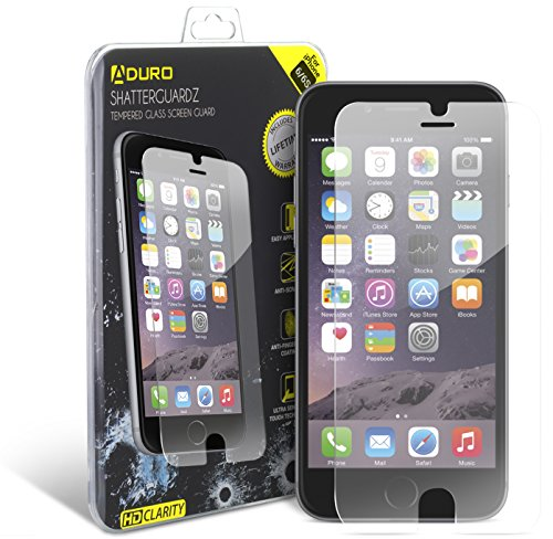 iPhone 6/6S Tempered Glass Screen Protector - Aduro Shatterguardz Anti-Scratch, Anti-Fingerprint Coating, Ultra-Sensitive Touch Tech for Apple iPhone 6/6S