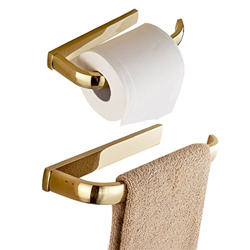 BigBig Home Polished Gold Finish Brass Material Lavatory Hardware Set Bath Toilet Roll Holders Towel Ring Contemprary Stand by BigBig Home