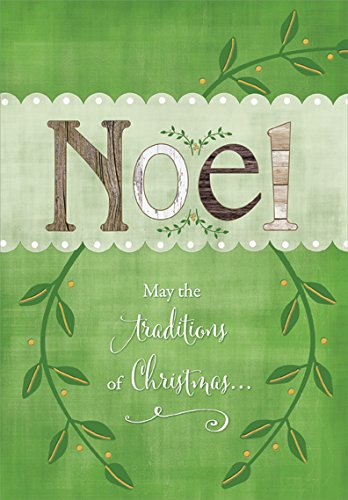 - Earthtone Noel with Green Vines - Designer Greetings Box of 18 Christmas Cards