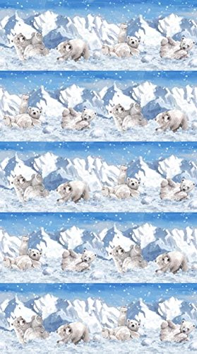Polar Frost Polar Bears Cubs All In A Row Playing In Snow Northcott Cotton Fabric F21232-44
