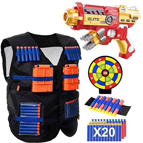 POKONBOY Vest Compatible with Nerf Guns - Blaster Gun and Tactical Vest with Wrist Band, Foam Darts and Dartboard for Kids Super Hero Toys for 6 7 8 9 Years Old