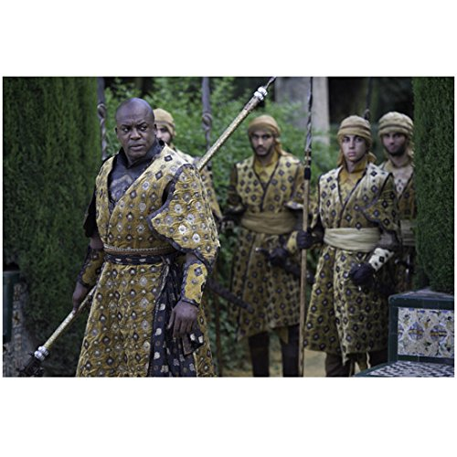 Nervy of Thrones (TV Series 2011 - ) 8 inch by 10 inch PHOTOGRAPH Deobia Oparei Leading Men All Dressed in Yellow/Grey Tunics Attitudinizing 1 kn