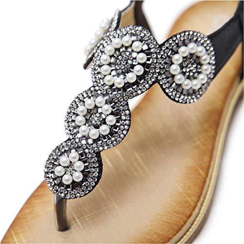 Perla Nero Decorate Elegante Estate con Modello Bassi Donna Perline Sandali Cuoio da Boemia Infradito Pu KUONUO Sandali qz6az7B