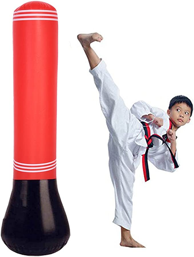 HMOOY Inflatable Punching Bag for Kids Freestanding Boxing Bag Bounce Back for Practicing Karate,Taekwondo Fitness Sport Play Adults De-Stress Boxing Target Bag 160CM Fitness Punching Bag