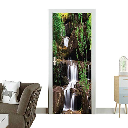 (Homesonne Waterproof Decoration Door Decals Waterfalls Flow Rock Stairs by L g Plants Brown White and Green Perfect ornamentW23.6 x H78.7)