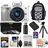 Canon EOS M50 Wi-Fi Digital ILC Camera & EF-M 15-45mm is STM Lens (White) 32GB Card + Battery + Filters + Backpack + Tripod + Kit