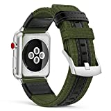 MoKo Band for Apple Watch Series 3 Bands, Soft Canvas Fabric Replacement Leather Sports Strap + Watch Lugs for iWatch 42mm 2017 series 3 / 2 / 1, Army Green (Not fit 38mm Versions)
