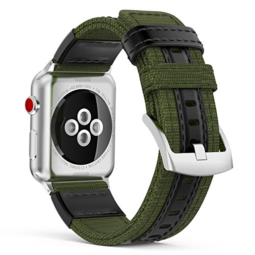Price comparison product image MoKo Band for Apple Watch Series 3 Bands, Soft Canvas Fabric Replacement Leather Sports Strap + Watch Lugs for iWatch 42mm 2017 series 3 / 2 / 1, Army Green (Not fit 38mm Versions)