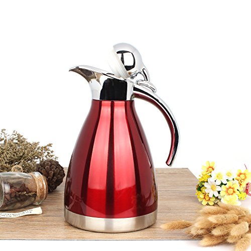 2 Liter Red Stainless Steel Double Walled Thermal Coffee Serving Carafe / Vacuum Insulated Hot Water Kettle by MyGift