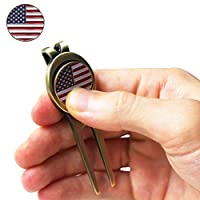 Golf Divot Tool and US-Flag Magnetic Ball Marker - Heavy-duty Steel