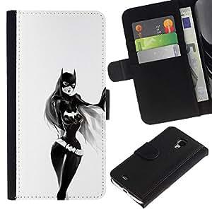NEECELL GIFT forCITY // Billetera de cuero Caso Cubierta de protección Carcasa / Leather Wallet Case for Samsung Galaxy S4 Mini i9190 // Chica Sexy Bat