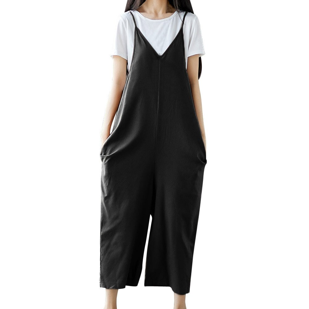 Pants For Womens,Clearance Sale -Farjing Women Strap Wide Leg Pants Vocation Dungarees Casual Jumpsuits Trousers Rompers (M,Black)