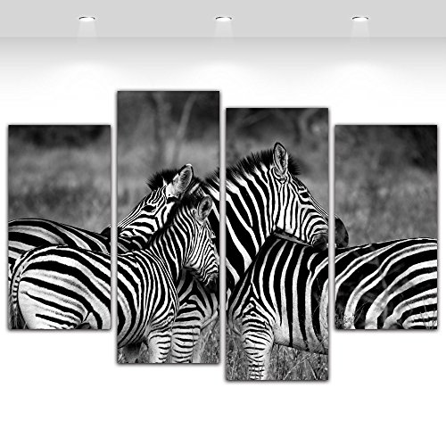 4 Pieces Zebra Animal Black and White Painting Canvas Prints Picture for Living Room Framed,Large Size 120cmX80cm,Ready to hang (Picture Wall Zebra For)