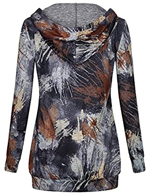 Miusey Women's Long Sleeve V Neck Tie Dyed Pullover Hoodie With Kangaroo Pocket