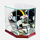 Perfect Cases Octagon Full Size Football Helmet Glass Display Case, Cherry