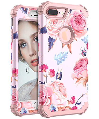 iPhone 7 Plus Case, Lokass Shockproof Scratch-Resistant Impact Protection Anti-Finger Print Plastic+TPU Case for iPhone 7 Plus for Women/Girls, Flowers Rose Gold