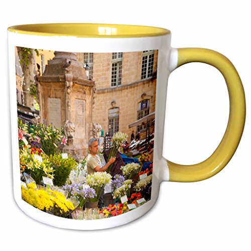 Aix En Provence Christmas Market - 3dRose Danita Delimont - France - Selling flowers, market, Aix-en-Provence, France - EU09 BJN0045 - Brian Jannsen - 11oz Two-Tone Yellow Mug (mug_135847_8)