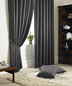 "JACQUARD CHECK LINED CHARCOAL GREY 66"" X 54"" - 168CM X 137CM PENCIL PLEAT CURTAINS DRAPES"