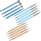Leinuosen Set of 14 Double-Ended Ceramic Clay Indentation Tools Ball Stylus Tools and Dotting Tools for Carving Sculpting Modeling Painting