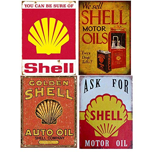 Gasoline Vintage Sign - Easy Painter Shell Oil Vintage Metal Sign, Gasoline Can Old Style Garage Bar, Man Cave, Tin Signs Funny, Retro Decorative Signs, Motor Oil - 4 PCS