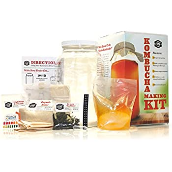 Home Craft Works Kombucha Brewing Kit Includes Organic Kombucha Scoby, Glass Brew Jar, Organic Loose Leaf Tea, Temperature Gauge, Organic Sugar, pH strips, cotton tea bag, and organic cotton cover