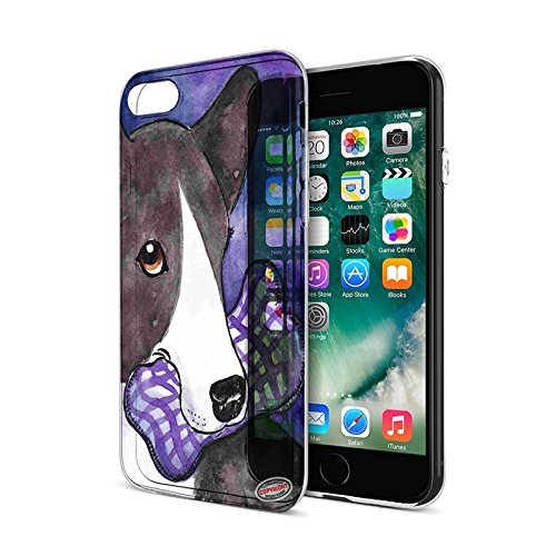 iPhone 7 Protective Clear Hard Cover Case - Brindle Cardigan Welsh Corgi with Plaid Bone Dog Art by Denise ()